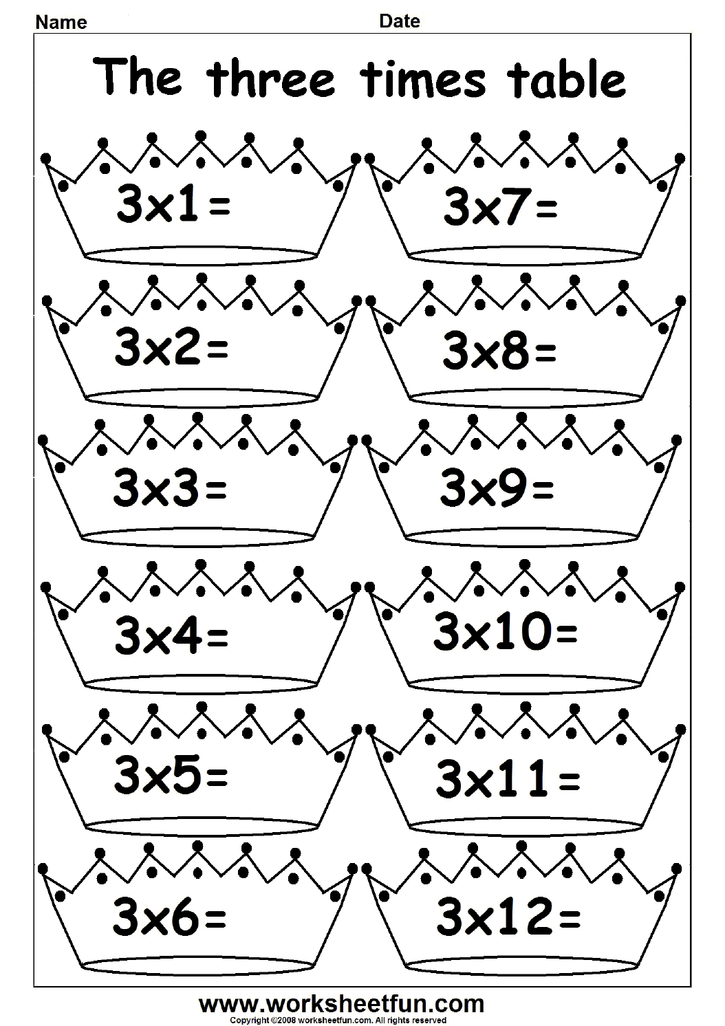 Multiplication Times Tables Worksheets 2 3 4 6 7 8 9 10 11 12 13 14 15 16 17 18