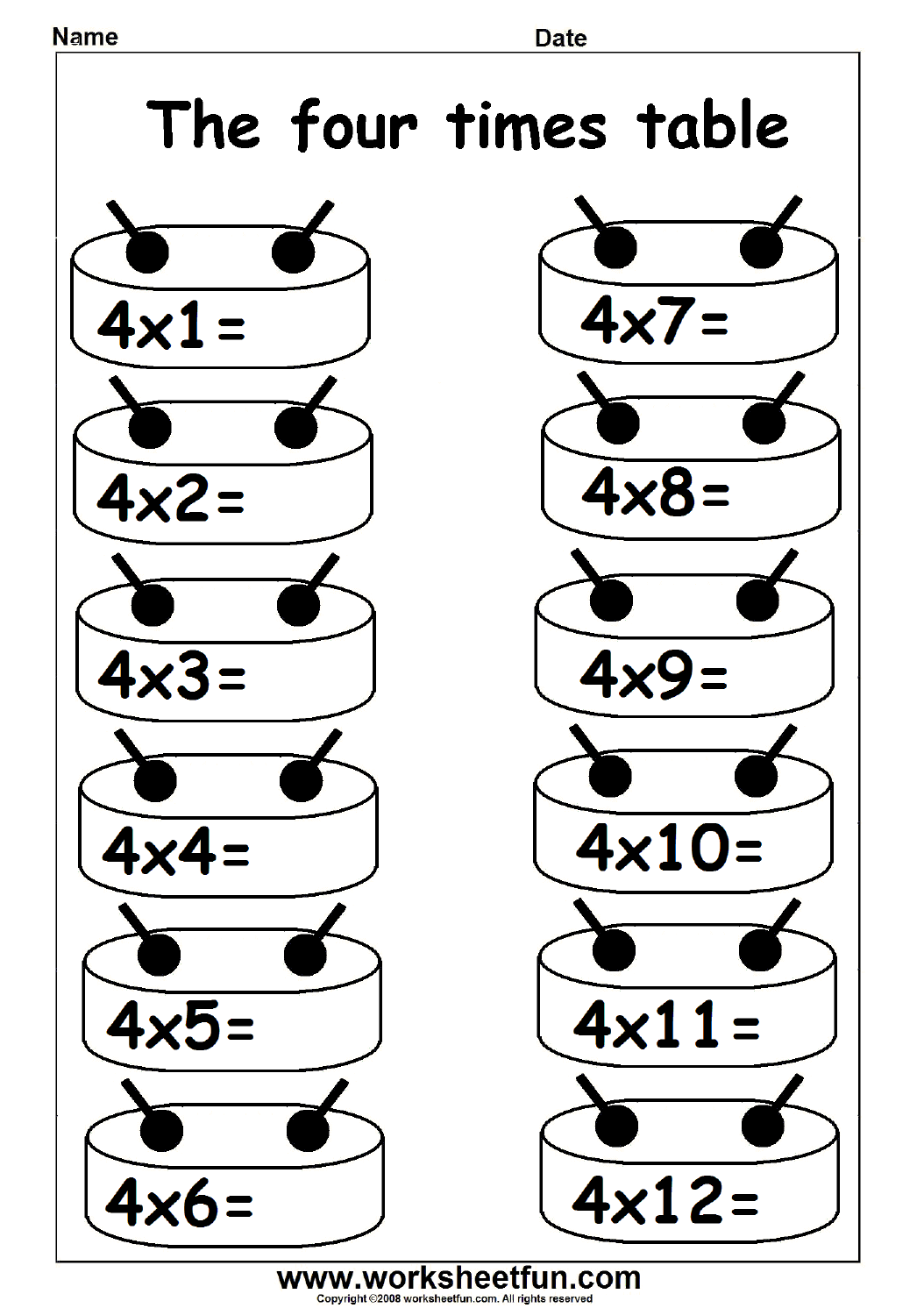 Multiplication Times Tables Worksheets 2 3 4 6 7 8