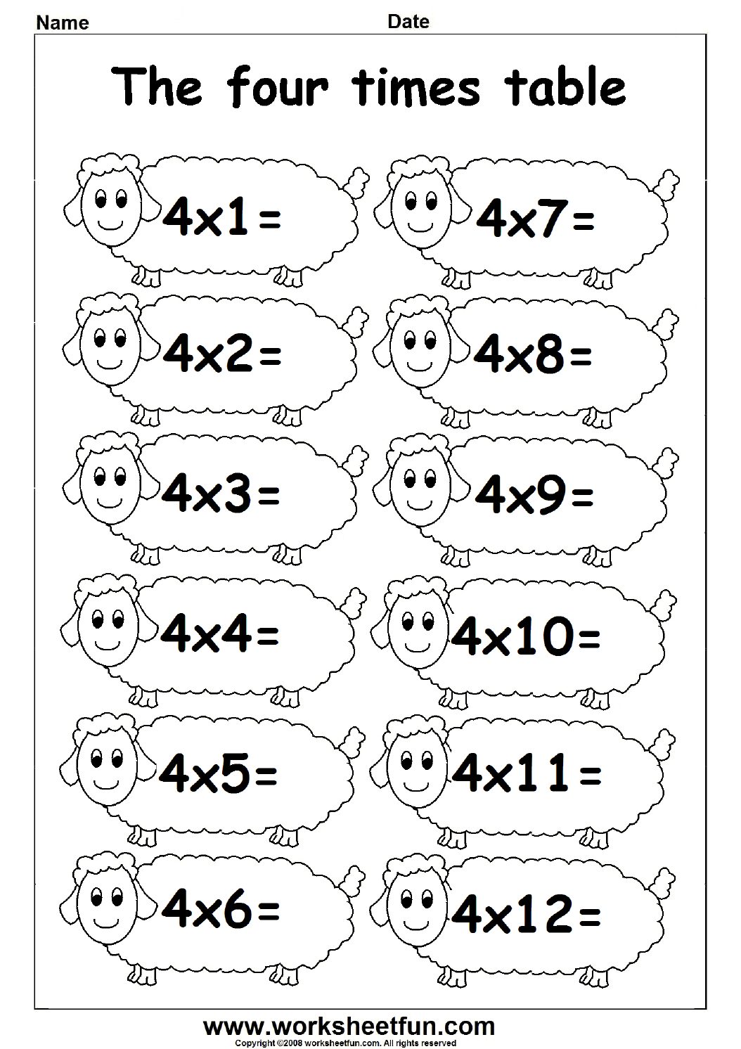 Multiplication Times Tables Worksheets  2, 3 & 4 Times