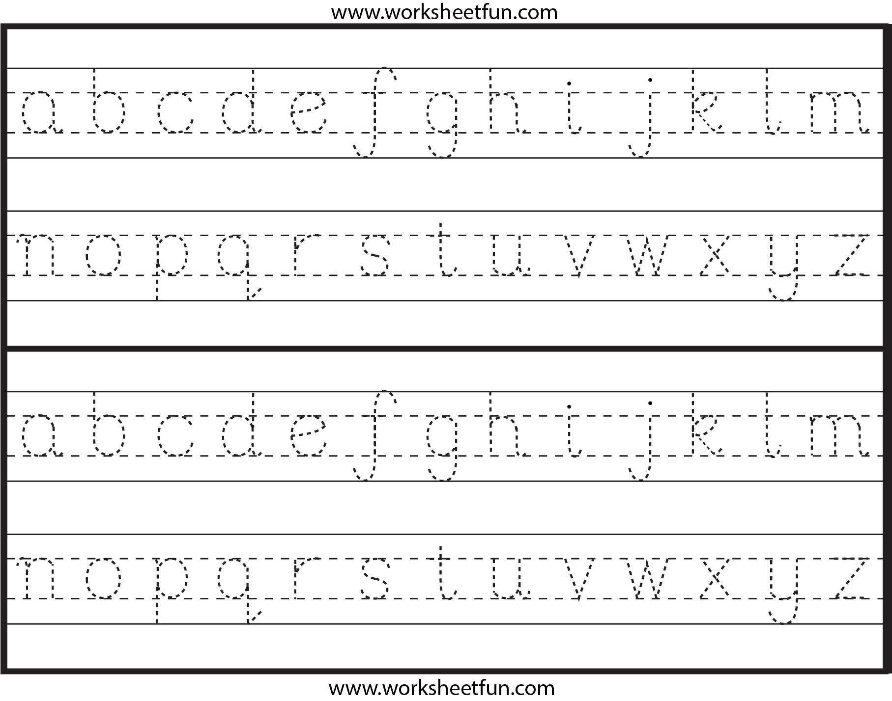 Lowercase Letter Tracing 1 Worksheet Free Printable Worksheets Worksheetfun