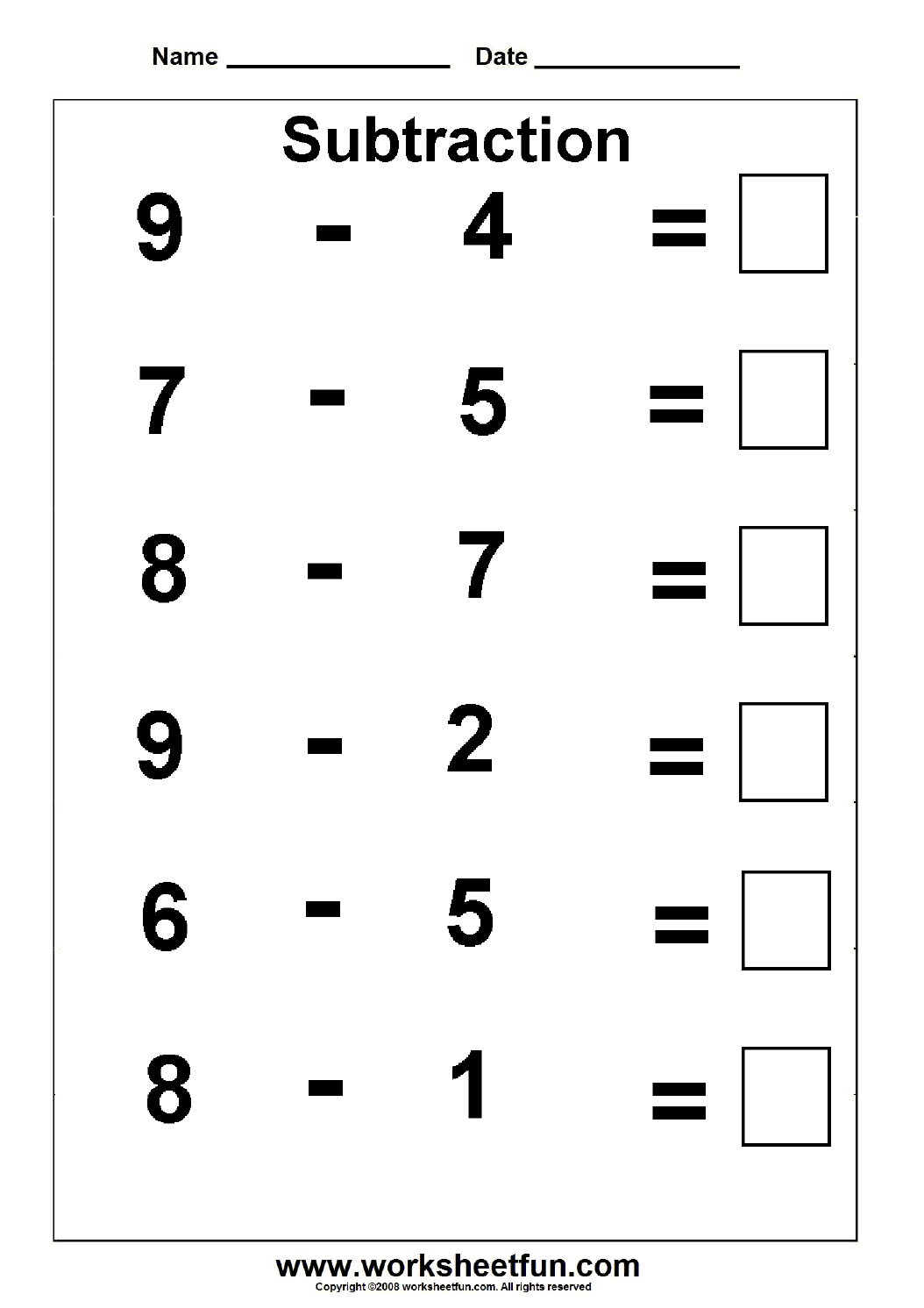 Subtraction 3 Kindergarten Subtraction Worksheets Free