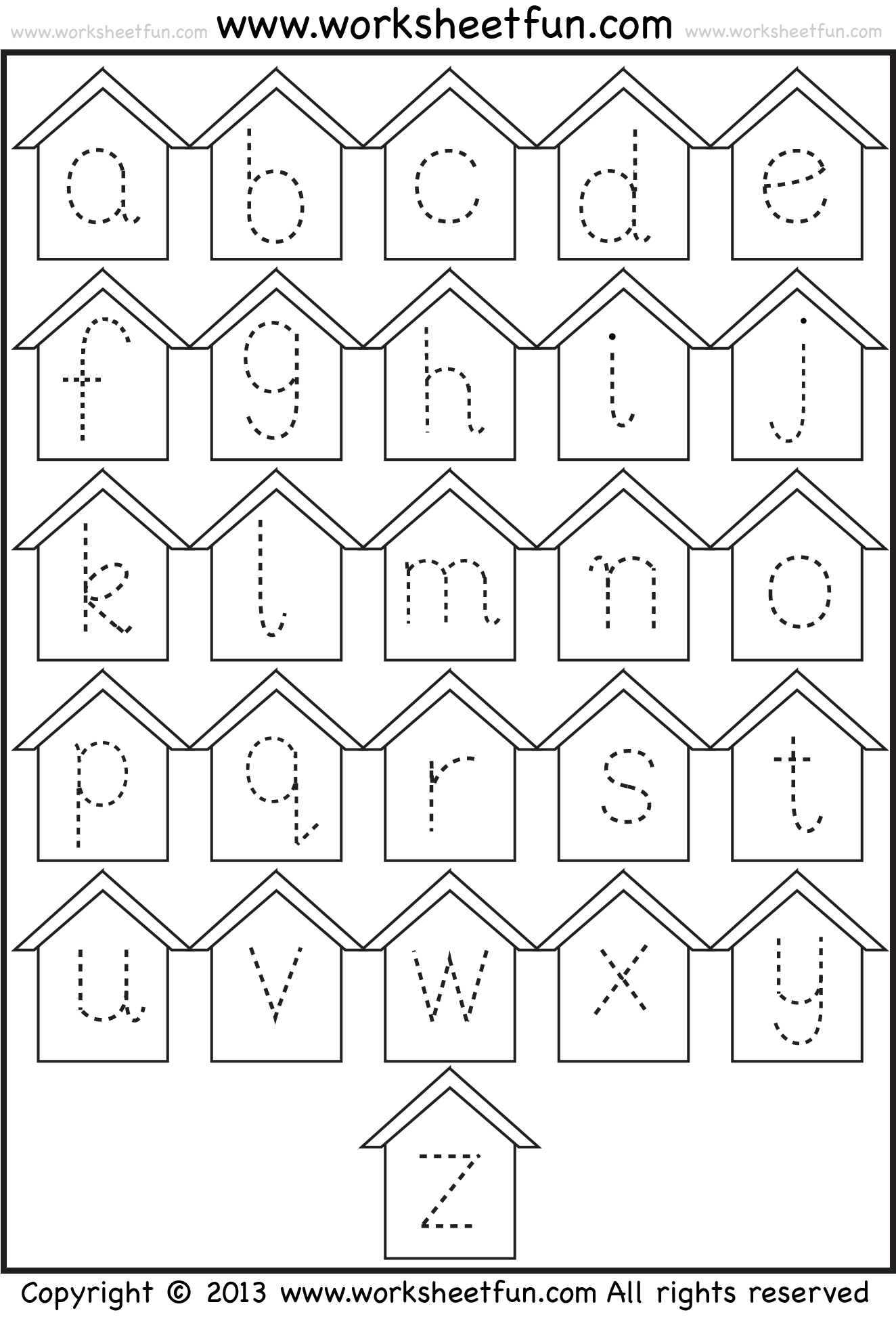 Small Letter Tracing Lowercase Worksheet Birdhouse Free Printable Worksheets Worksheetfun