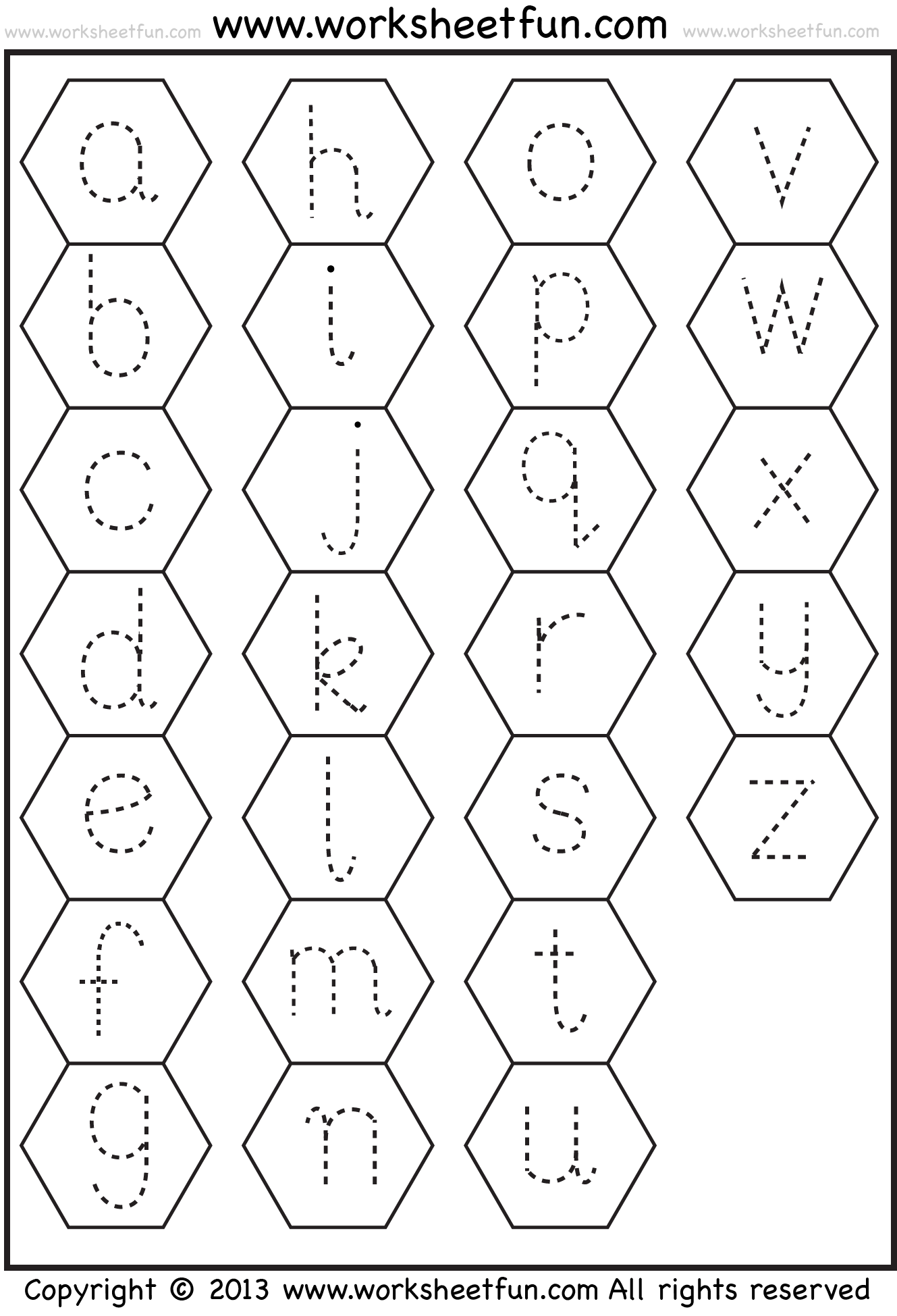 Small Letter Tracing Lowercase Worksheet Hexagon