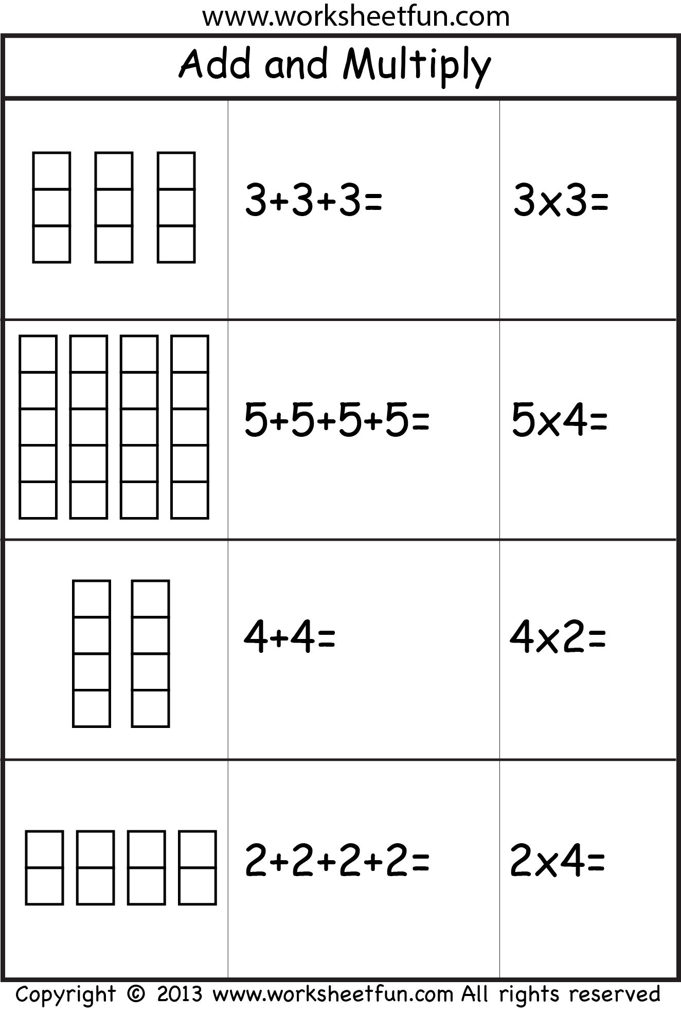 Multiplication Add And Multiply Repeated Addition Two Worksheets Free Printable