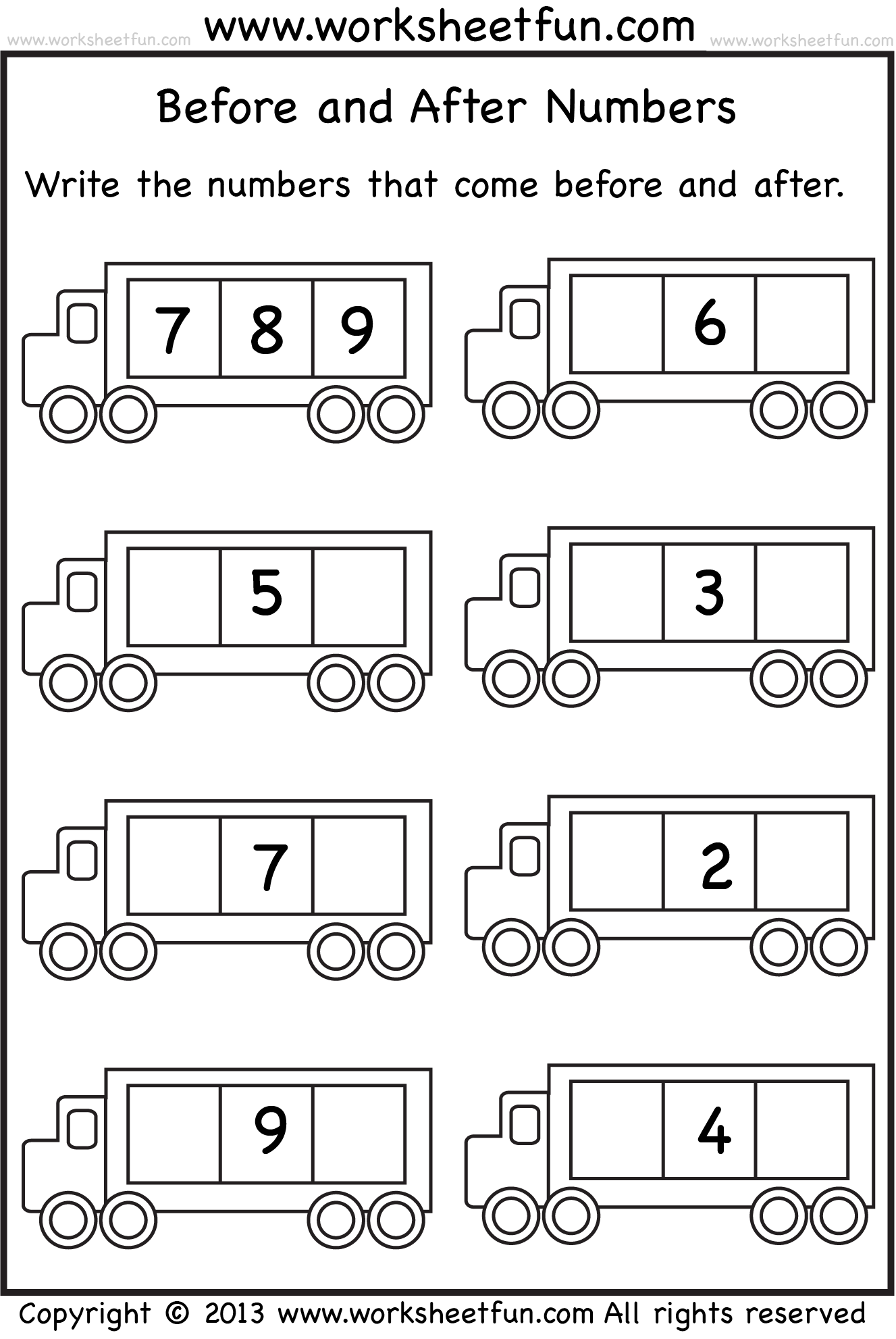 Before And After Numbers 5 Worksheets Free Printable