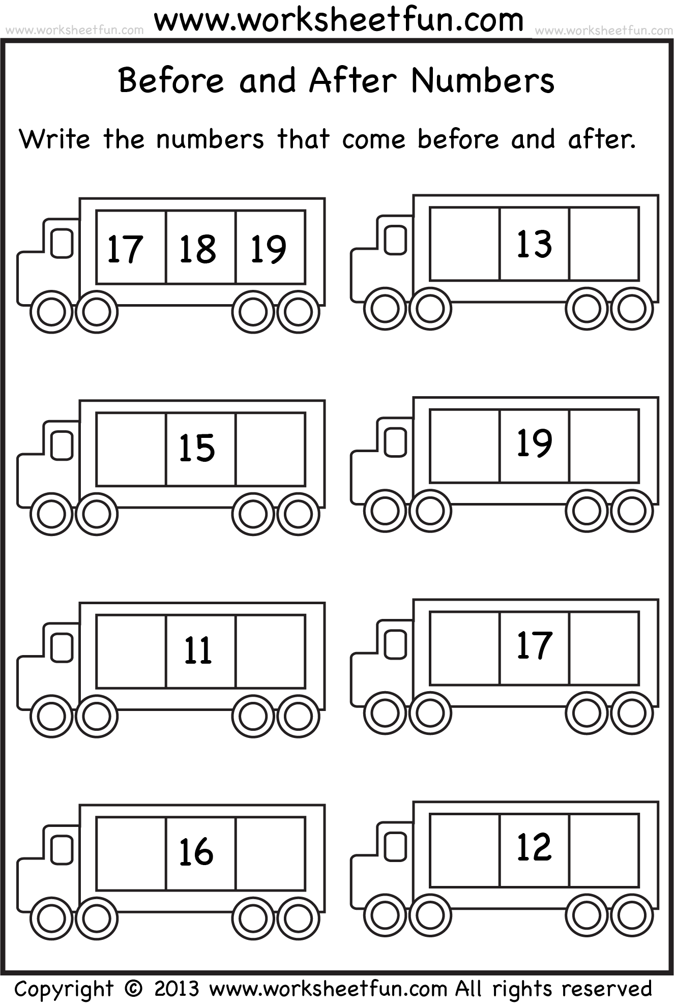 Before And After Numbers 5 Worksheets Free Printable Worksheets Worksheetfun