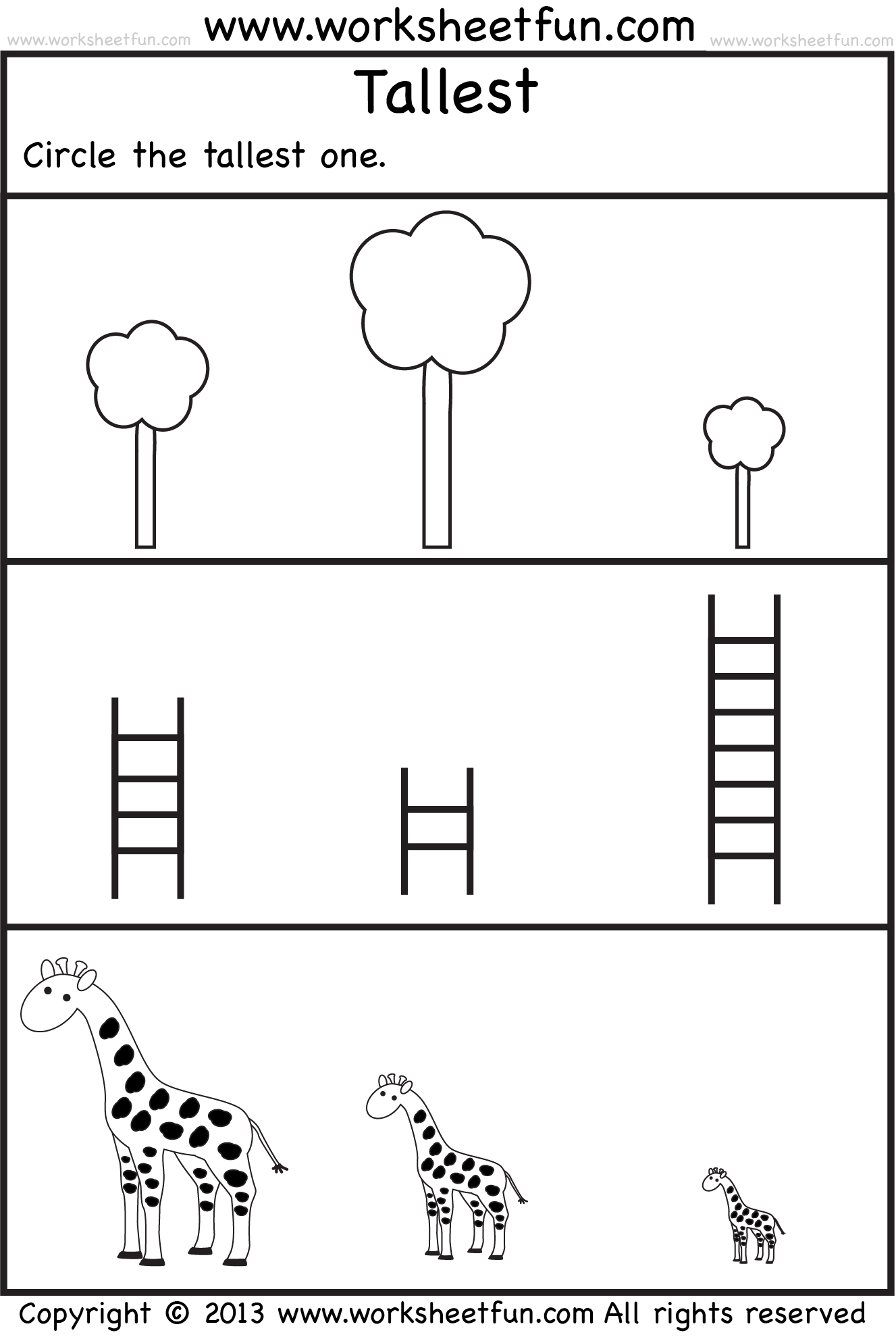 Tallest 2 Preschool Worksheets Free Printable Worksheets Worksheetfun