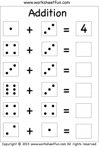 Dice Addition – Single Digit Addition