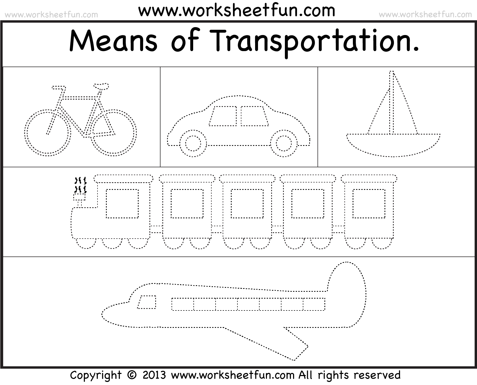 Means Of Transportation Tracing Worksheet Free Printable Worksheets Worksheetfun