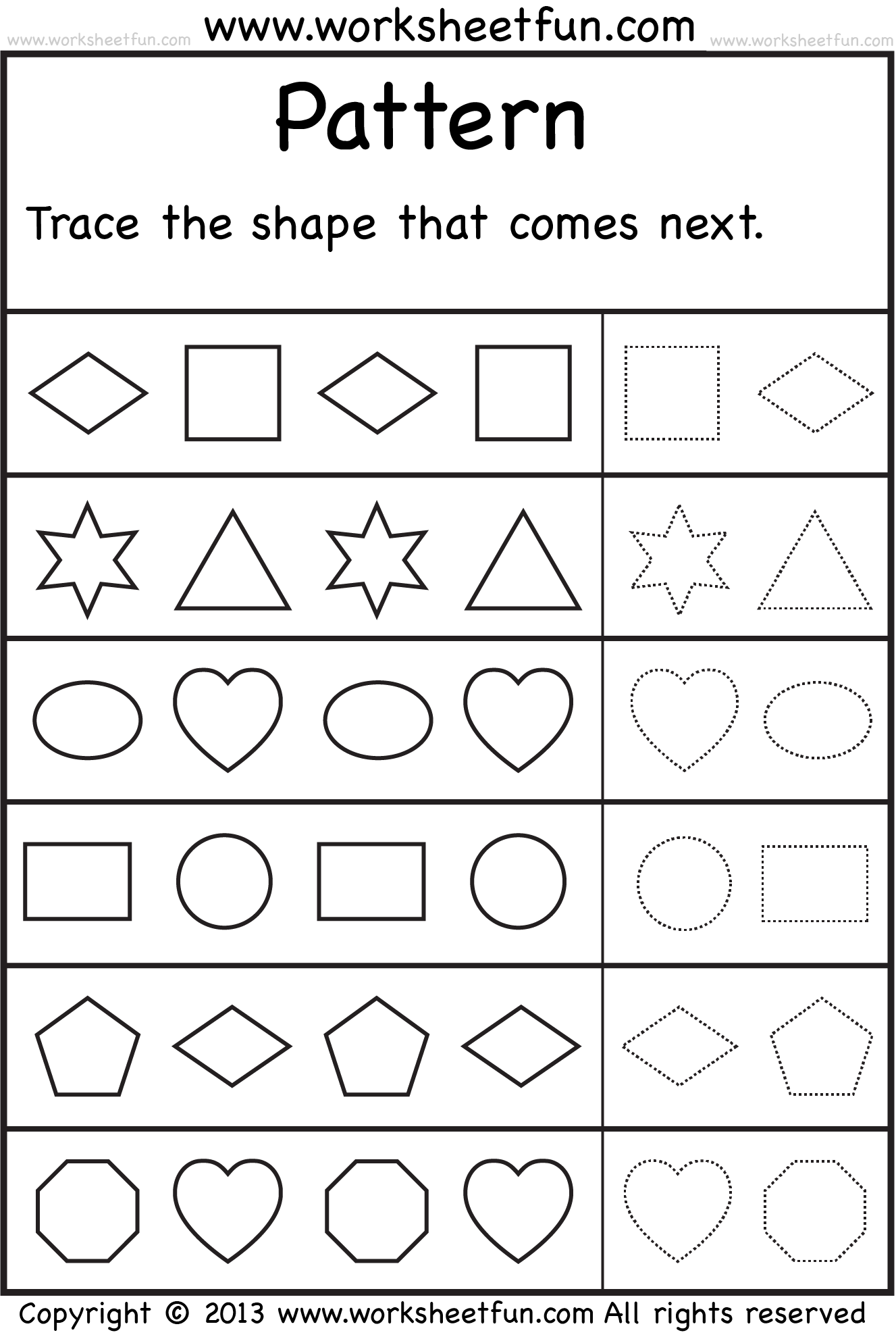 Patterns Trace The Shape That Comes Next One Worksheet