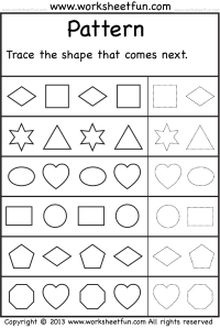 Patterns  Trace the shape that comes next  One Worksheet ...