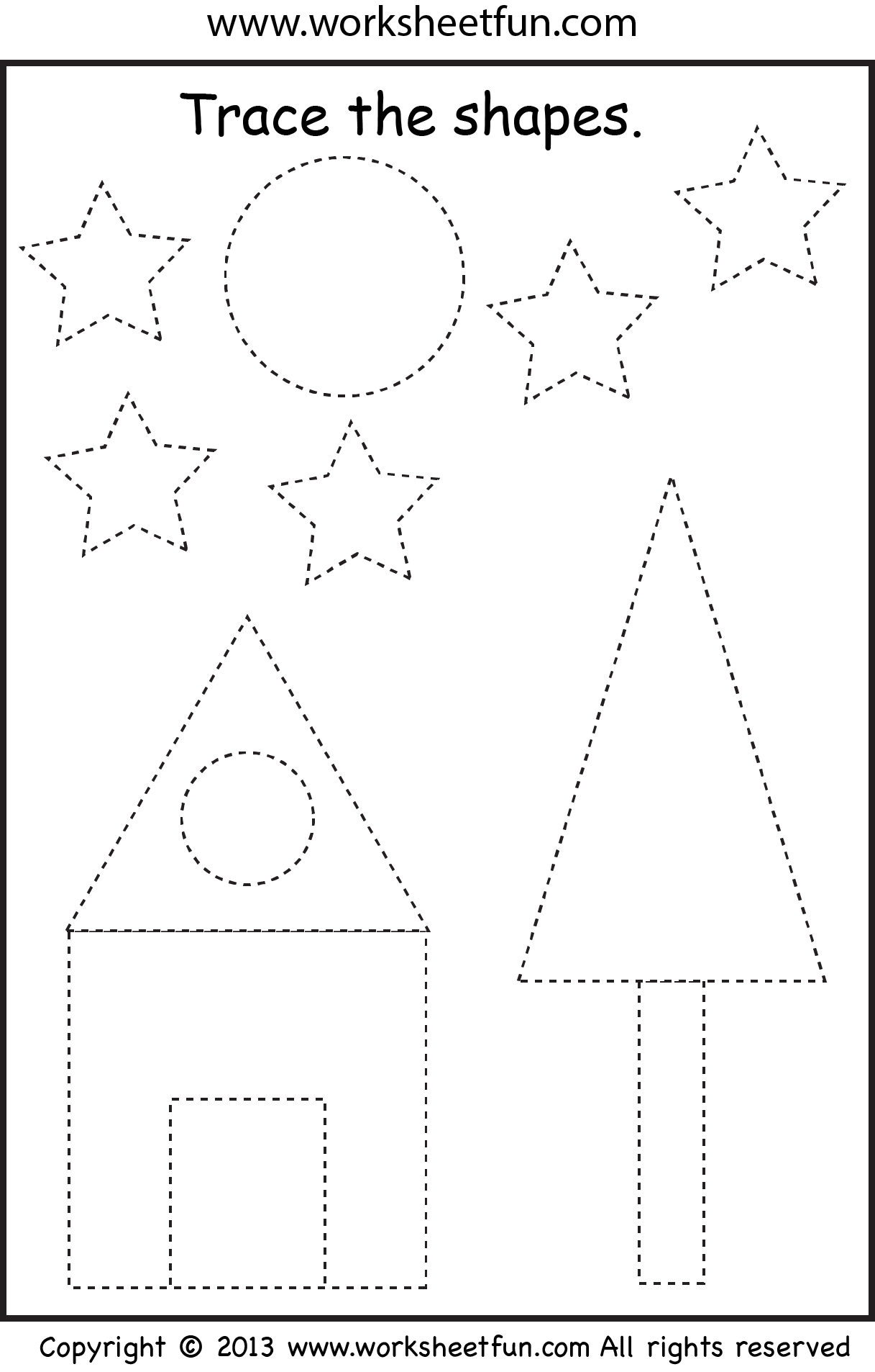 Picture Tracing Shapes Two Worksheets Free Printable Worksheets Worksheetfun