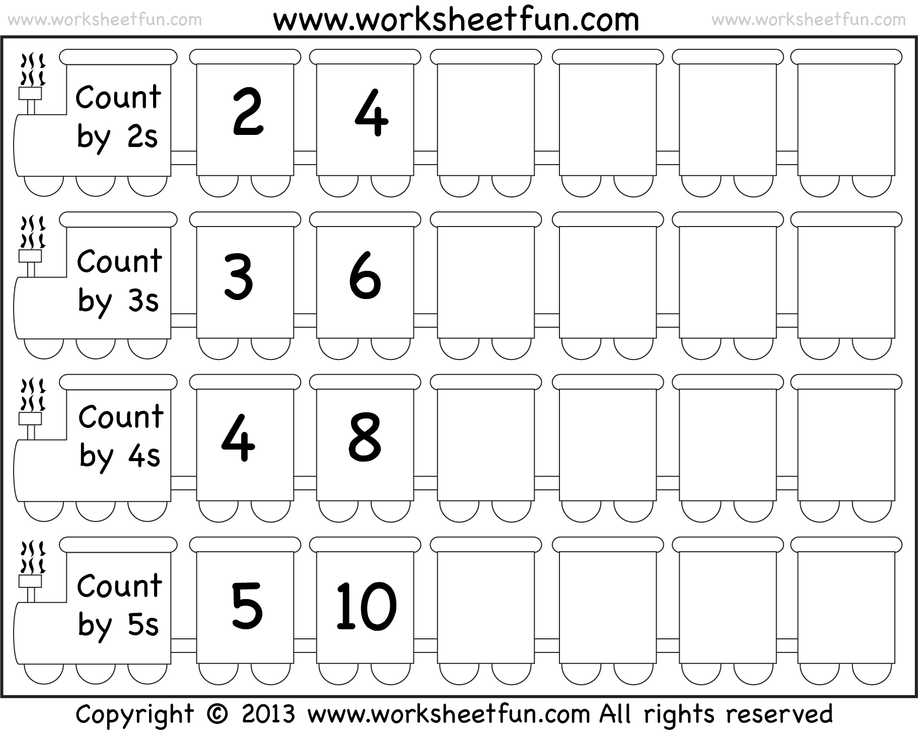 Skip Counting By 2 3 4 And 5 Worksheet Free