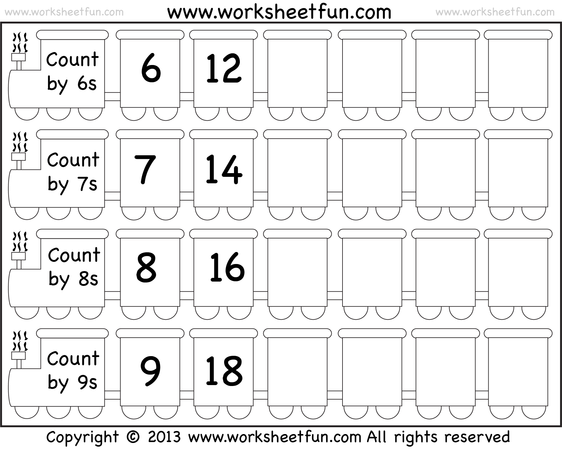 Skip Counting By 6 7 8 And 9 Worksheet Free