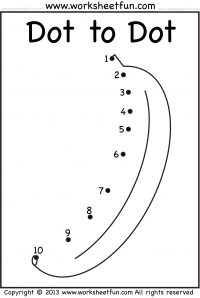 Dot to Dot – Numbers 1-10 – One Worksheet
