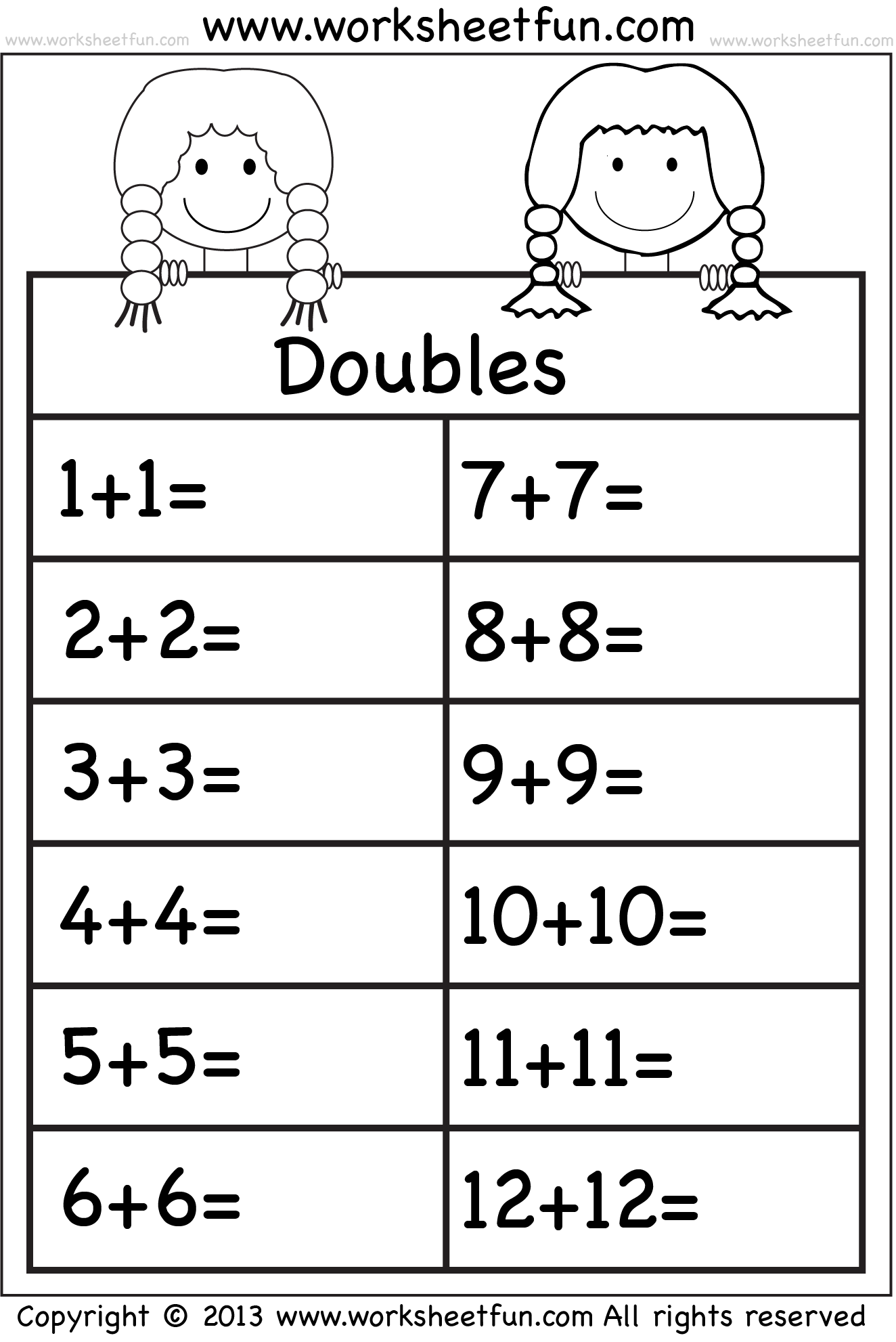 Addition Doubles  1 Worksheet  Free Printable Worksheets  Worksheetfun