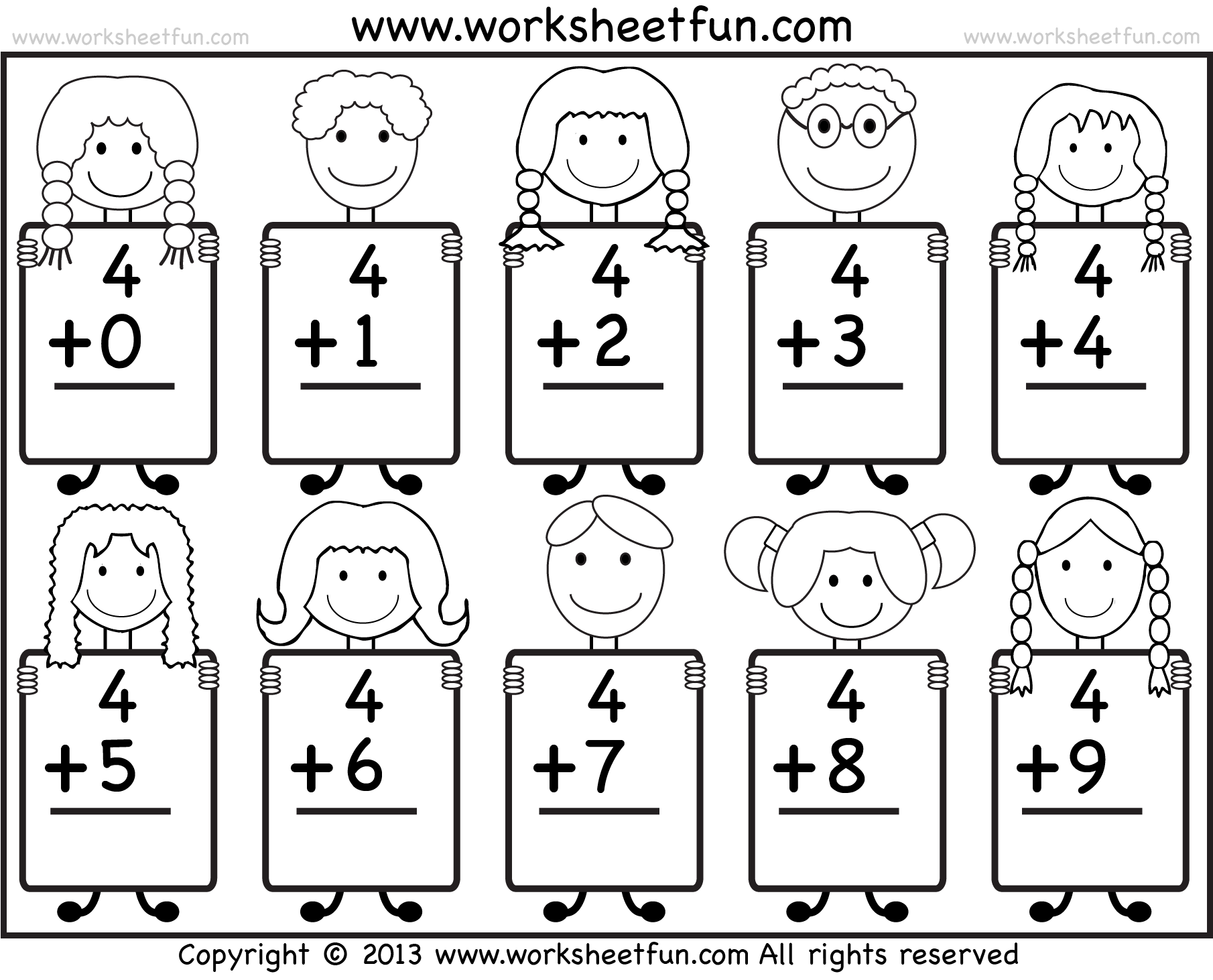 Beginner Addition Basic Addition Facts 9 Kindergarten