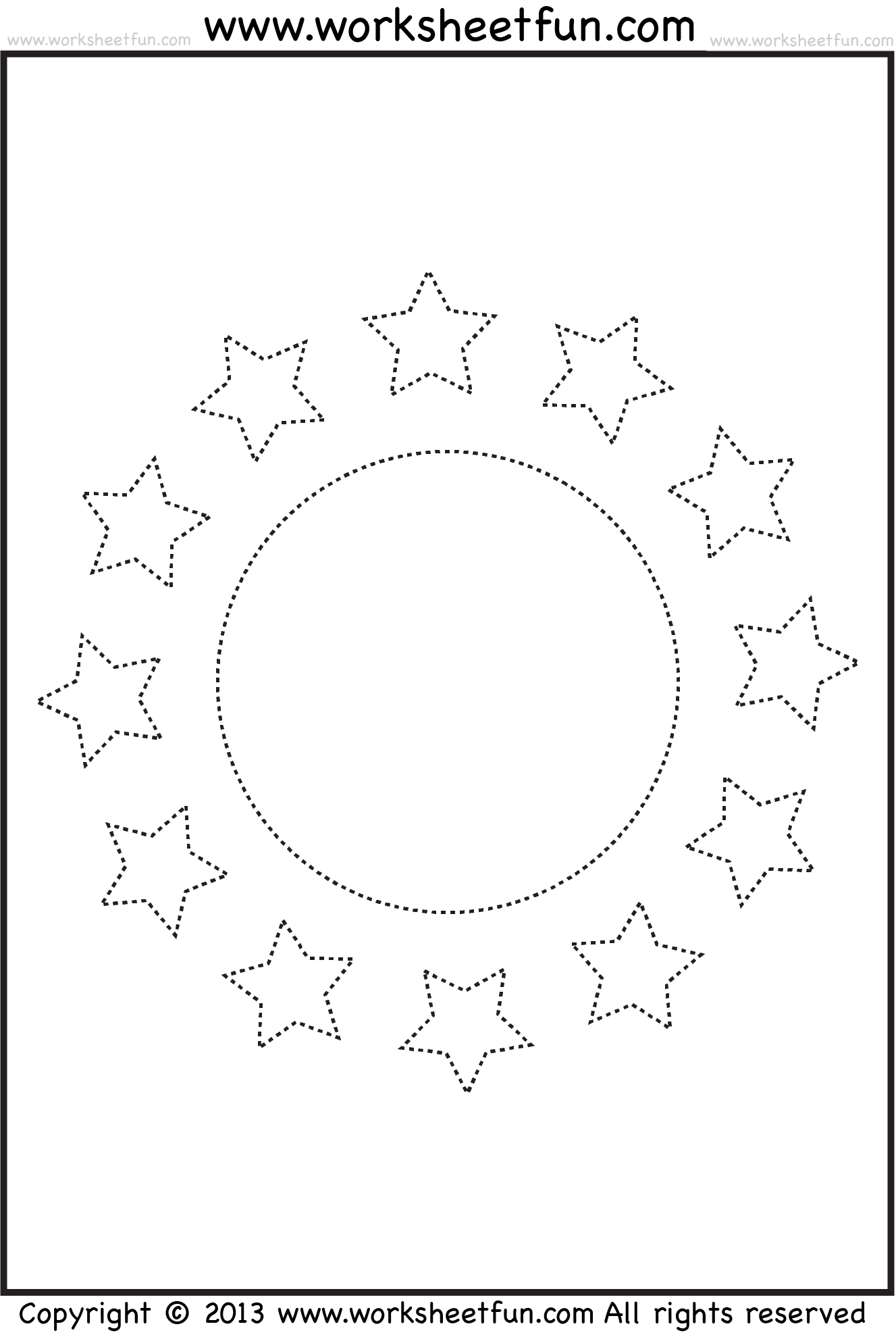 Shape Tracing Worksheet Circle And Stars Free Printable Worksheets Worksheetfun
