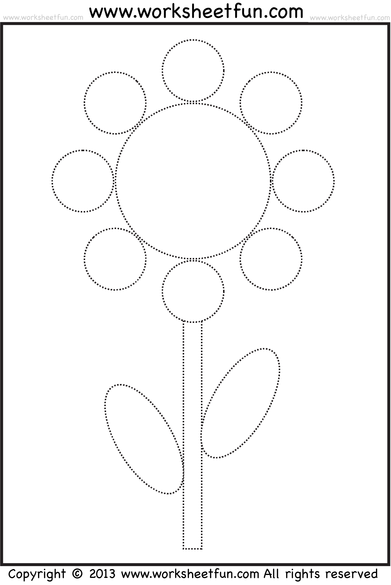 Shape Tracing And Coloring Worksheet Circle Oval Rectangle Flower Free Printable
