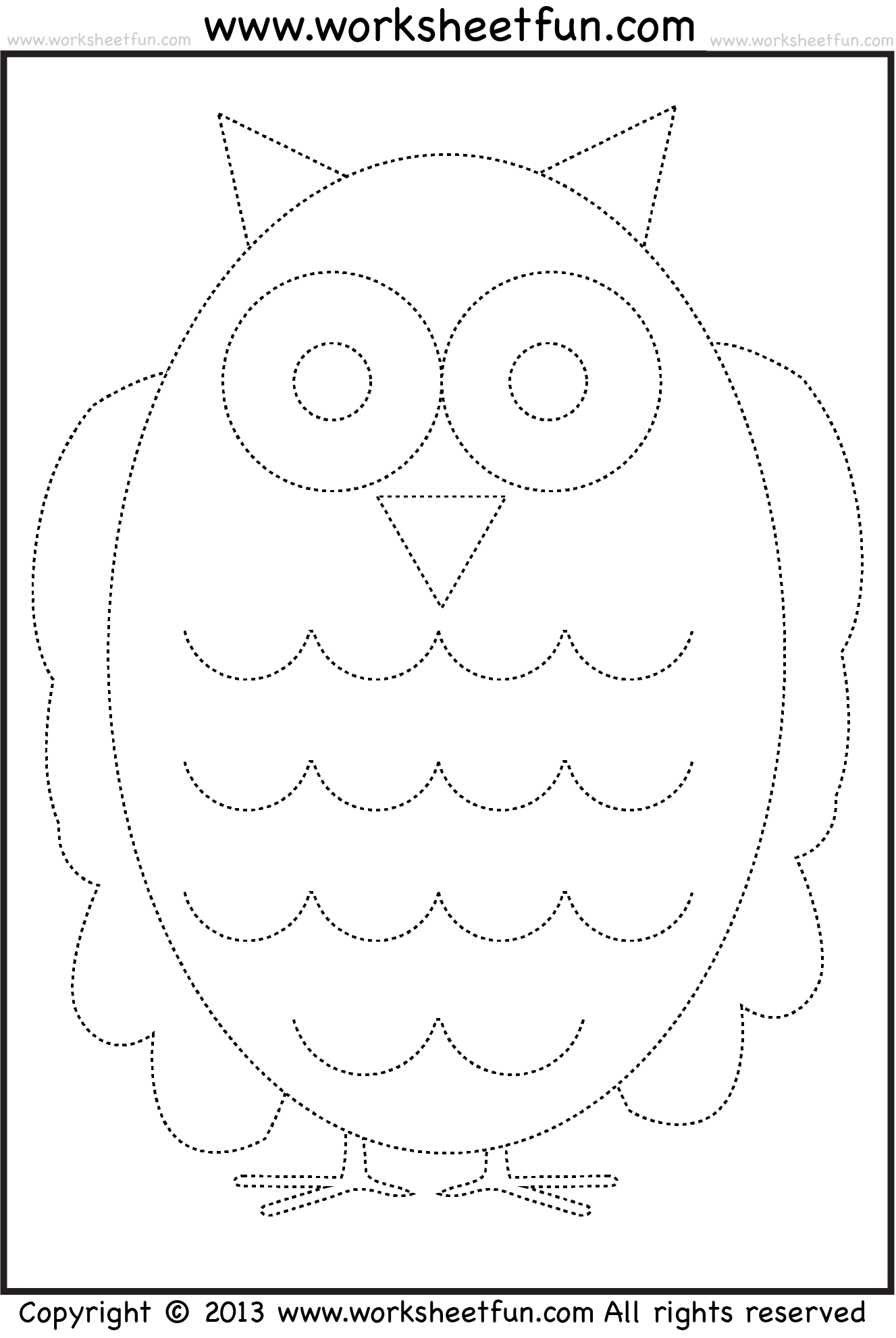 Owl Tracing And Coloring 4 Halloween Worksheets Free Printable Worksheets Worksheetfun