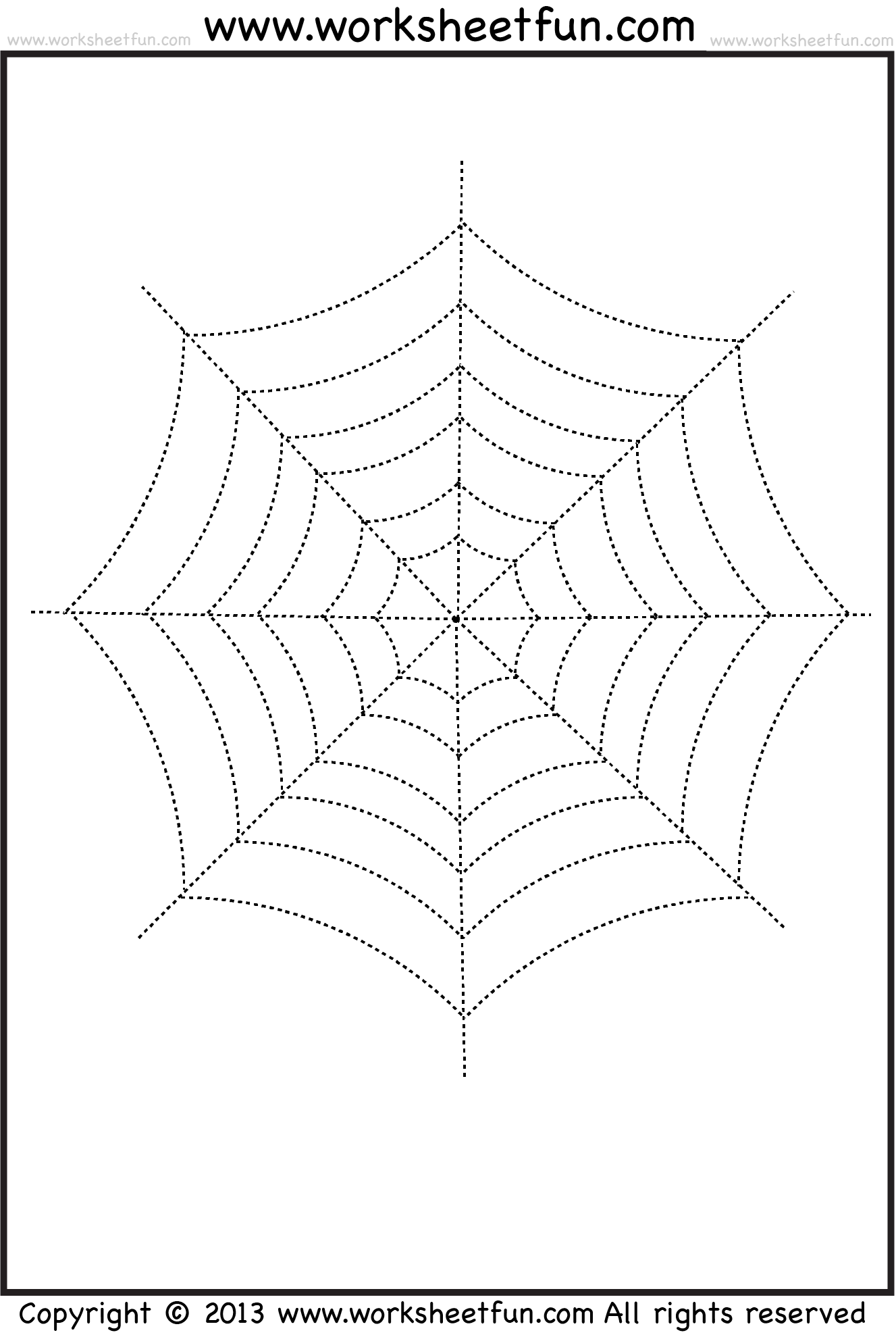 Spider Web Tracing And Coloring 2 Halloween Worksheets Free Printable Worksheets Worksheetfun