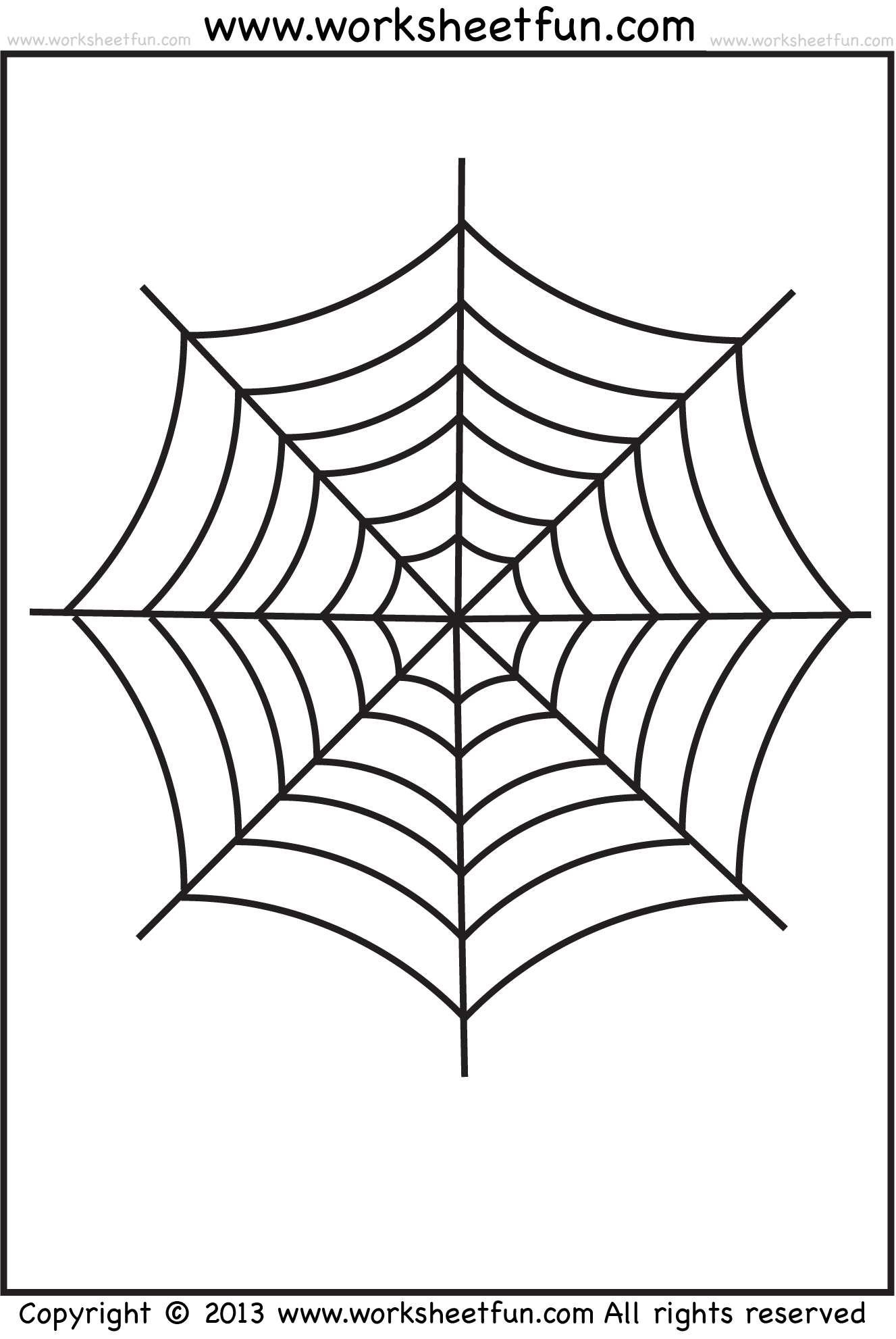 Spider Web Tracing One Halloween Worksheets Free