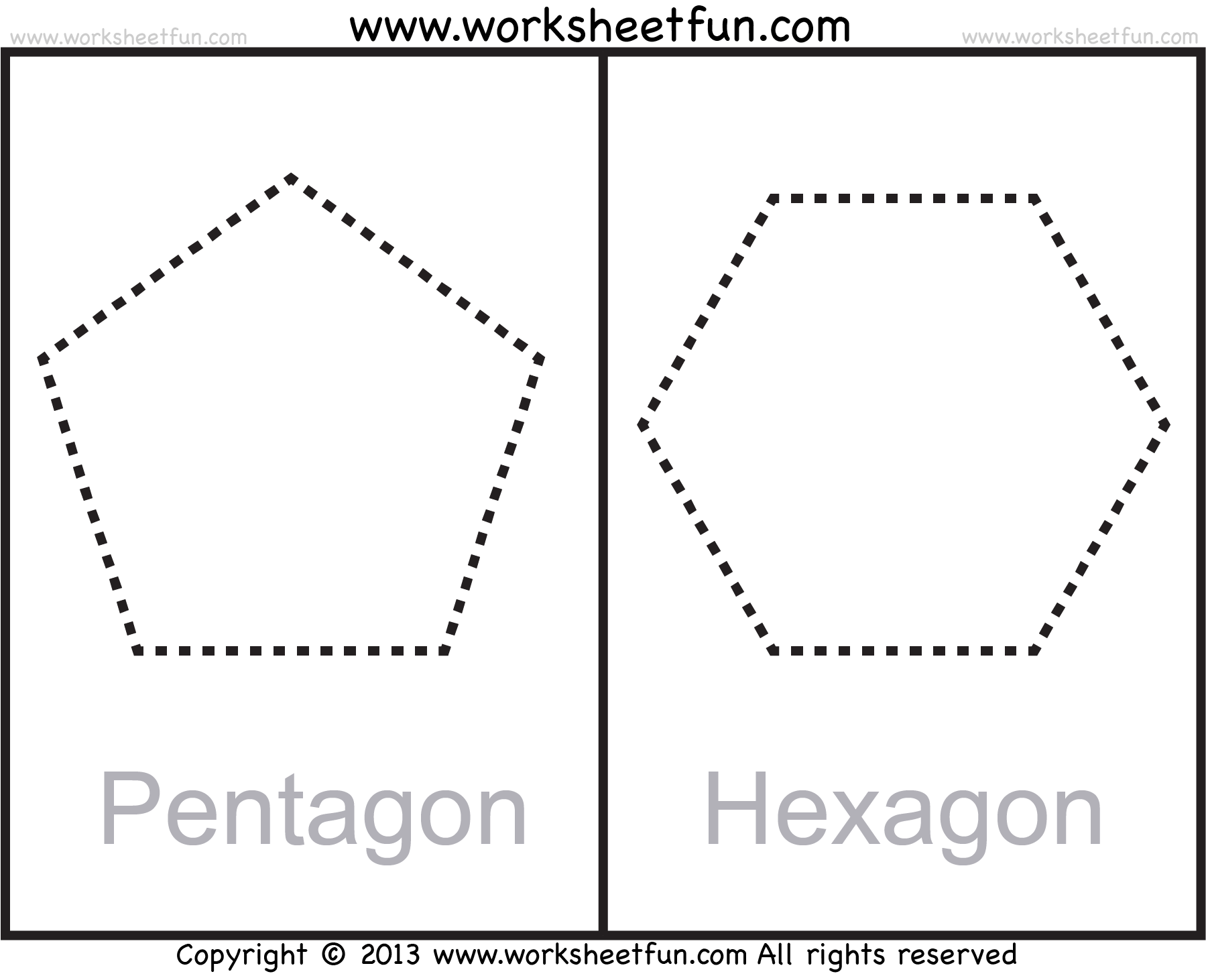 Shapes Polygons Pentagon Hexagon Heptagon Octagon Nonagon Decagon 11 Worksheets Free