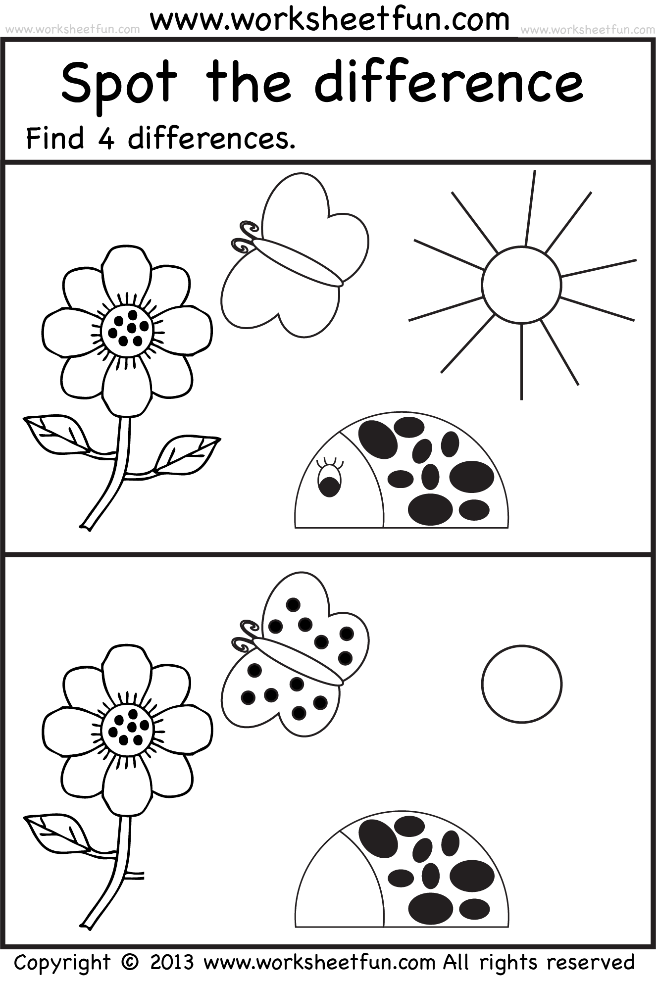 S Spot The Difference Worksheets