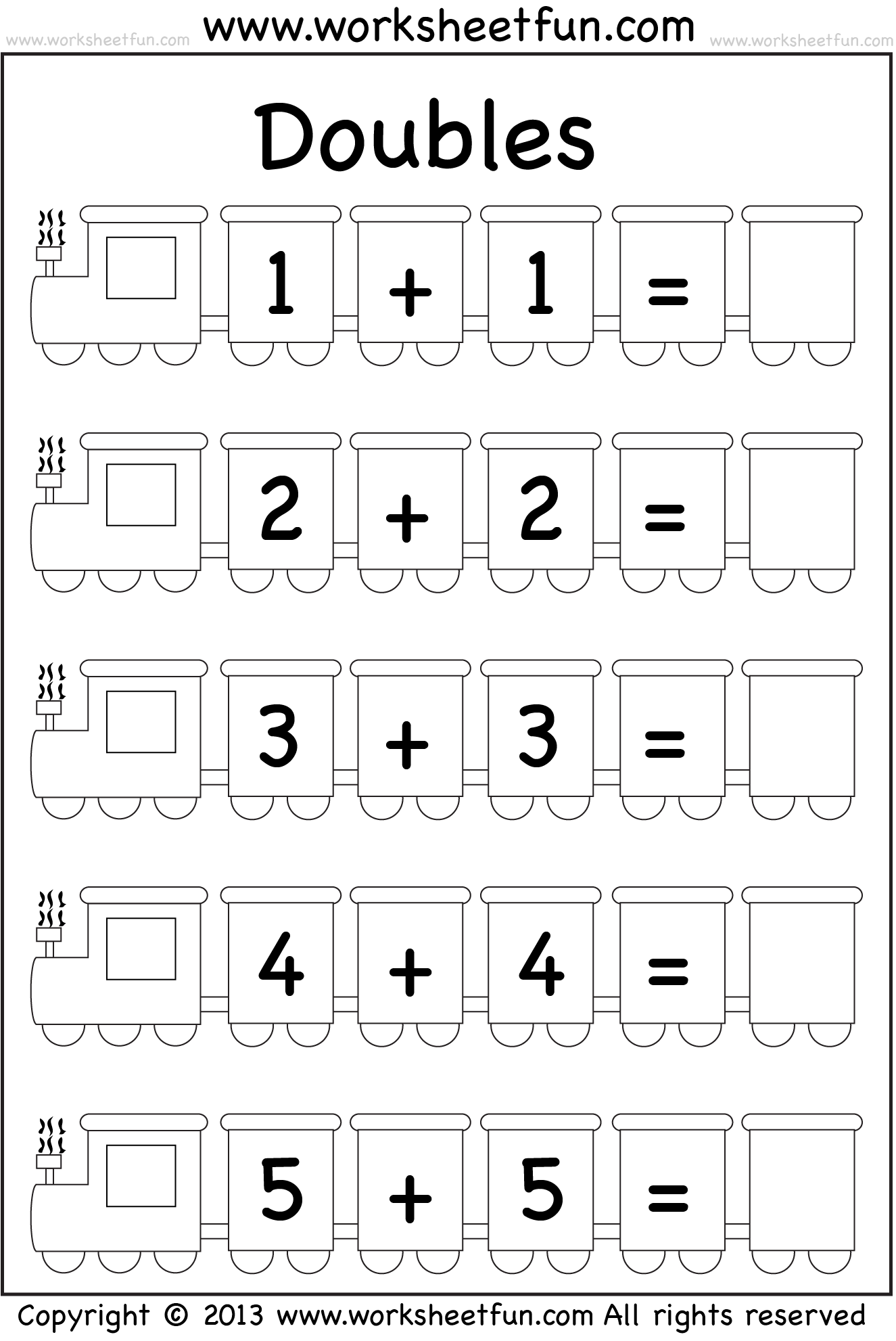 Near Doubles Addition Worksheet