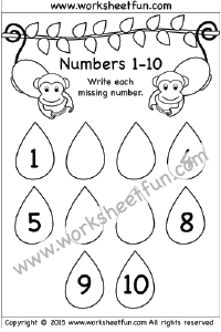 Missing Numbers – 1 -10