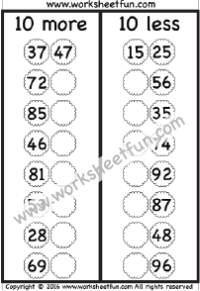 Addition – Add Tens / FREE Printable Worksheets
