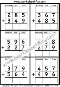 Addition Regrouping / FREE Printable Worksheets