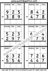Subtraction Regrouping / FREE Printable Worksheets