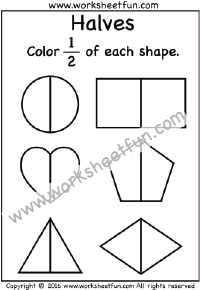 Fractions – Halves / FREE Printable Worksheets