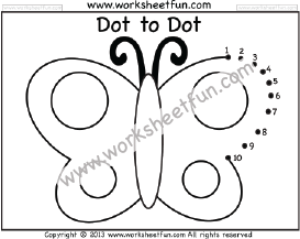 Dot to Dot – Butterfly – Numbers 1-10