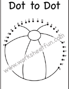 Dot to  beachball letters   one worksheet also small free printable worksheets worksheetfun rh