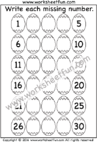 Easter Worksheets – Missing Numbers – 1 – 30