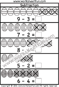 Easter Subtraction Two Worksheets Free Printable