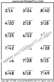 Division-2Digit by1Digit-No Remainder / FREE Printable