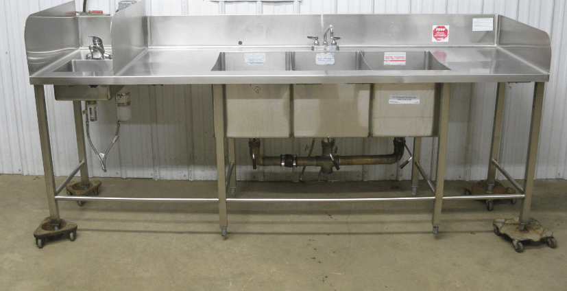 bowl three compartment sink