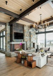 rustic modern mountain living room peek montana architecture country homes lodge interiors designs sky decor views spectacular wooden kitchen fireplace