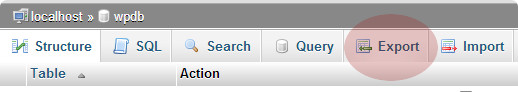 Export tab to export WordPress database using phpMyAdmin