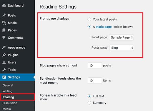 Halaman depan statis di WordPress