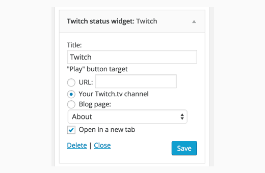 Twitch widget settings