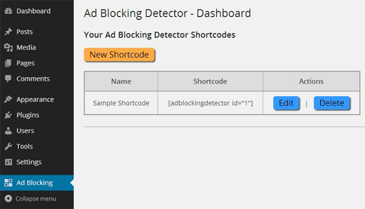 Settings page for Ad Blocking Detector plugin