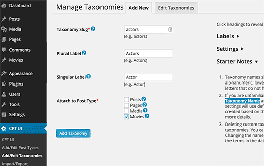 Create Taxonomy in CPT UI plugin