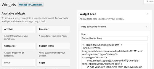 Menambahkan kode formulir pendaftaran di widget