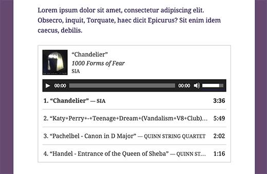 Danh sách phát âm thanh được nhúng trong bài đăng trên blog WordPress