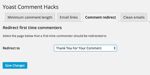 Redirect first time commenter