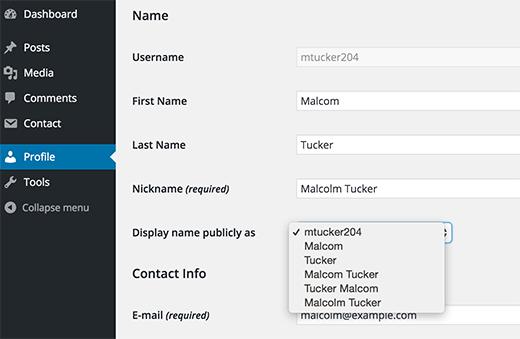 Thêm tên và họ hoặc biệt hiệu của bạn trong WordPress